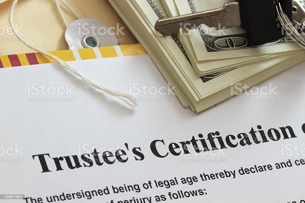 Trustee certification stock photo