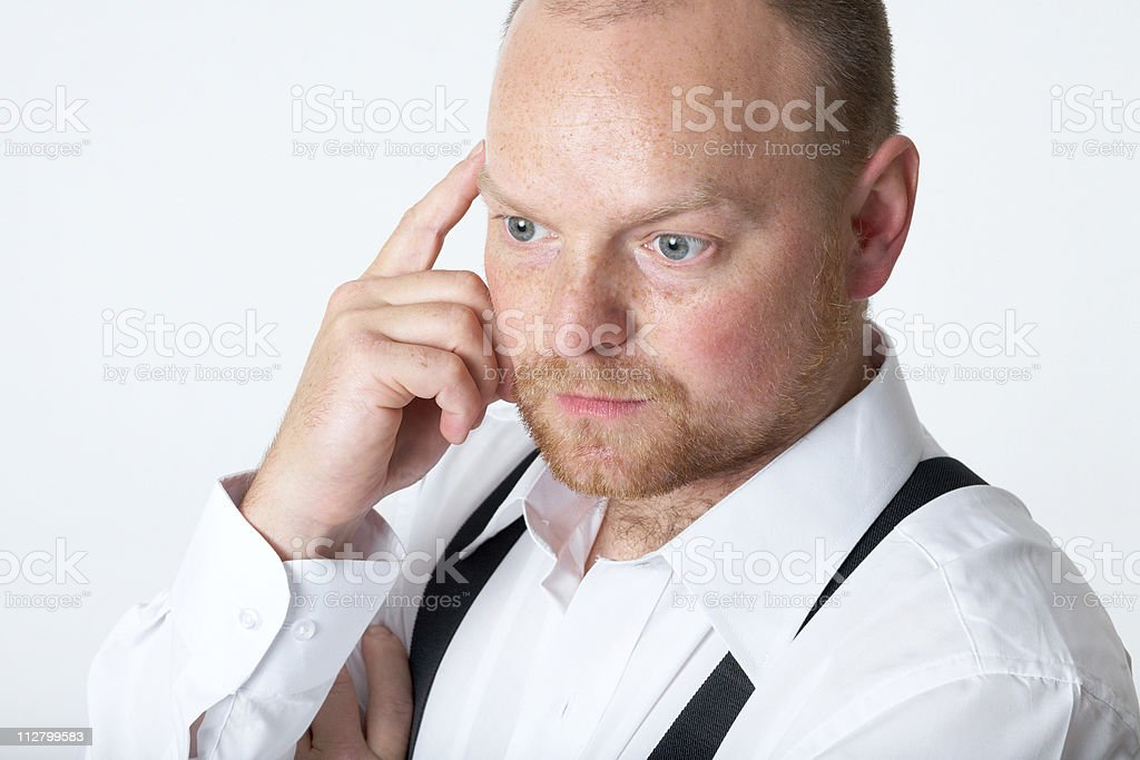 trustworthy adult businessman on grey background royalty-free stock photo