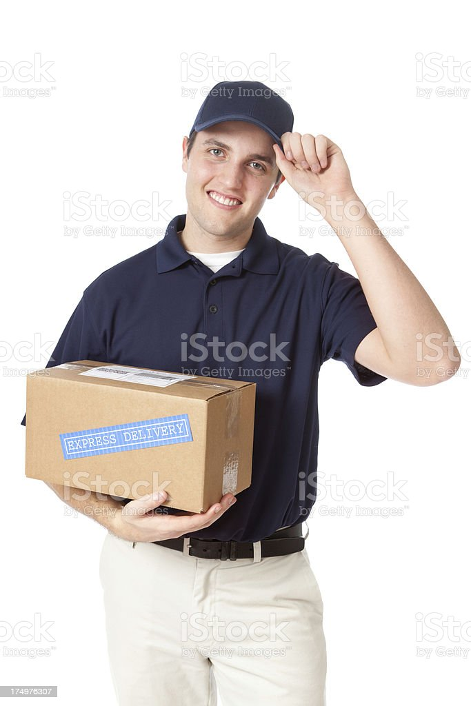 Trusty Earnest Delivery Man with Package on White background royalty-free stock photo