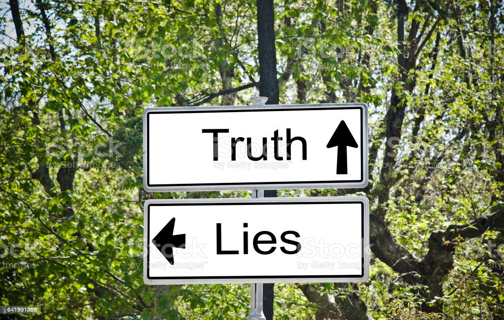 Truth and Lies Road Sign stock photo