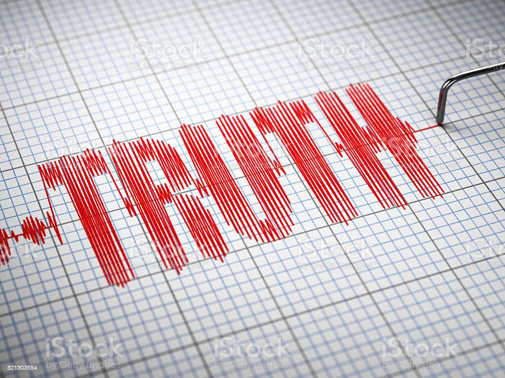 Truth concept.  Closeup of a polygraph lie detector with text. stock photo