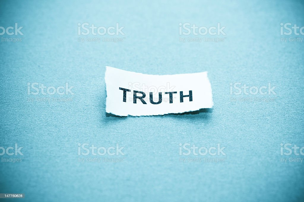 Truth text on curved paper stock photo