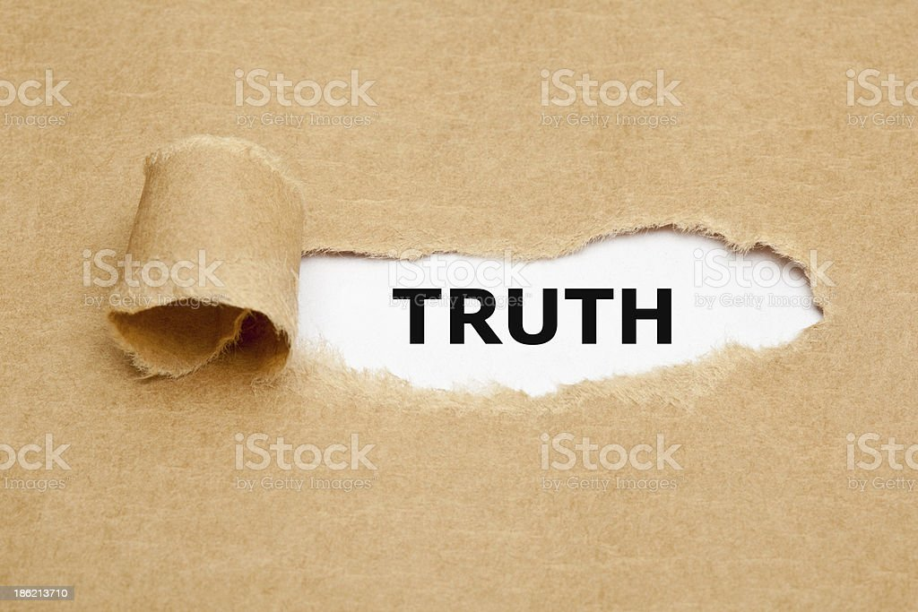 Truth Torn Paper stock photo