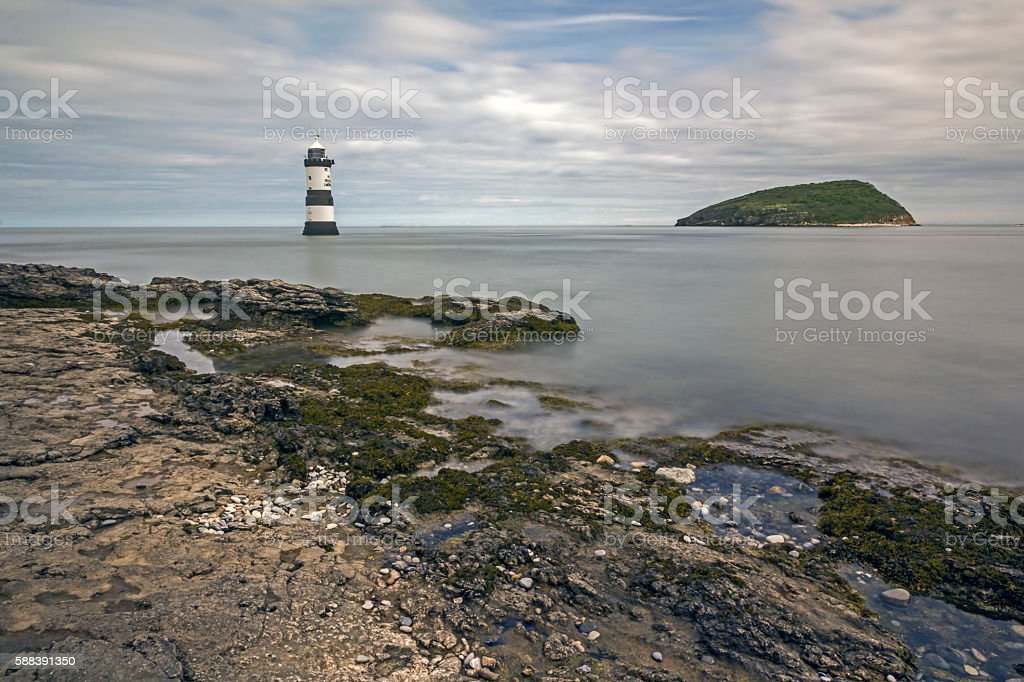Trwyn Du Lighthouse, Anglesey stock photo