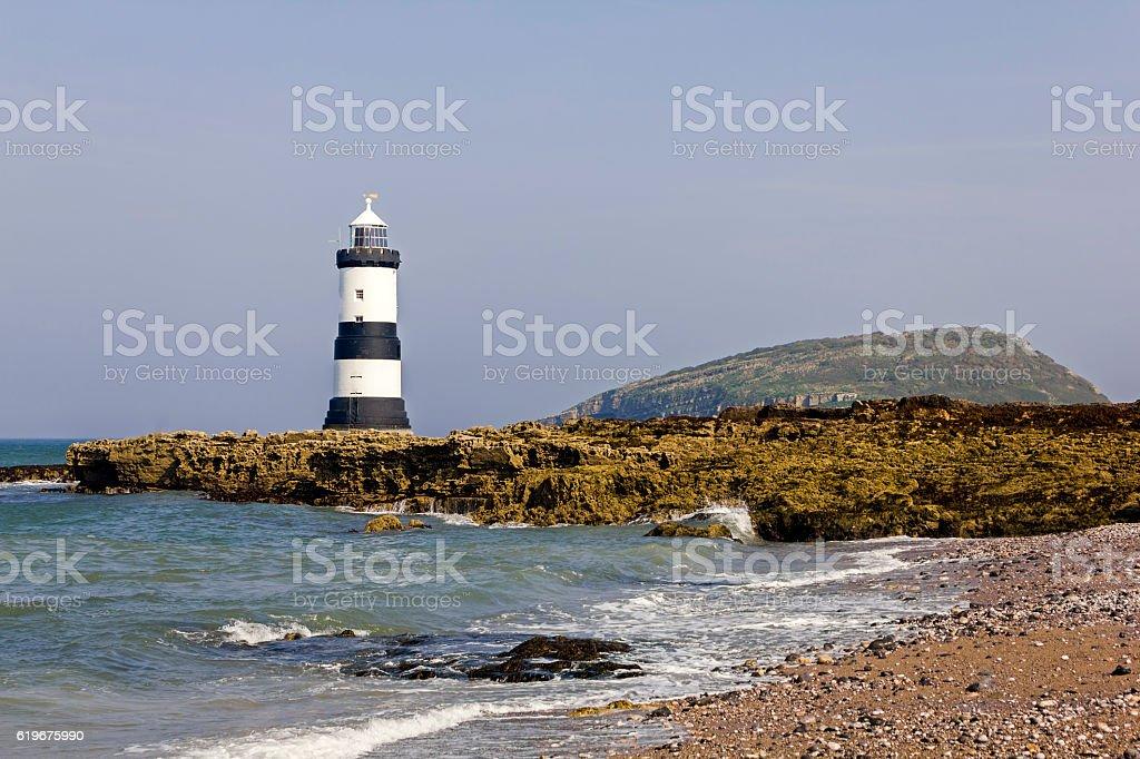 Trwyn Du Lighthouse, Anglesey stock photo