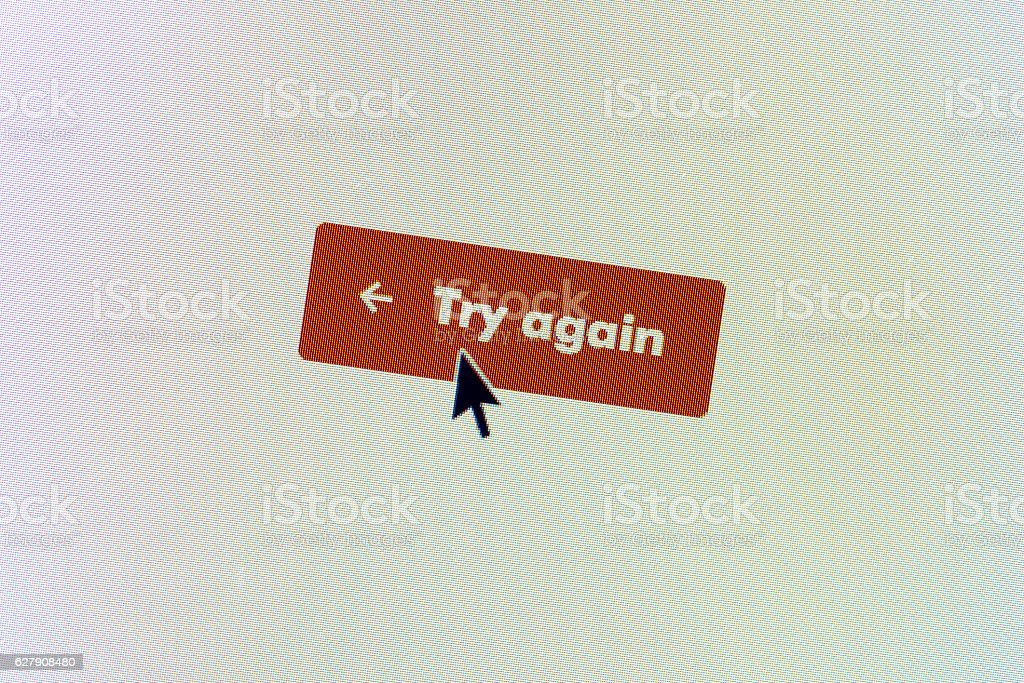 'Try Again' computer monitor button stock photo