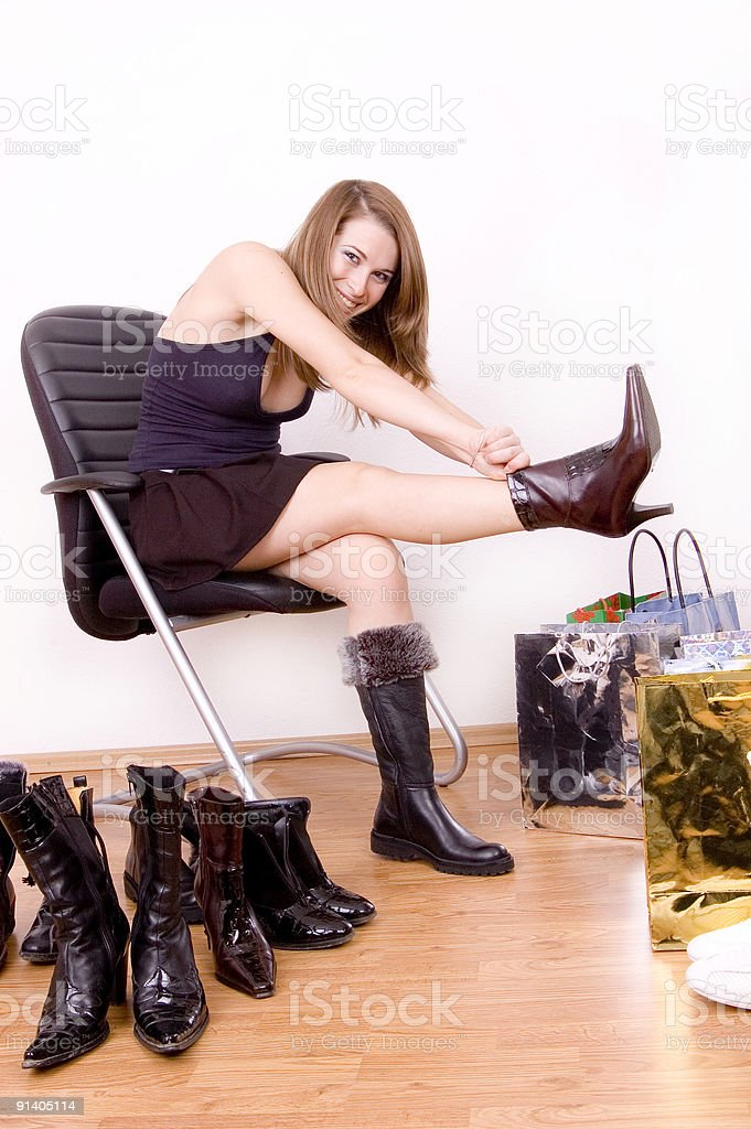 trying boots royalty-free stock photo