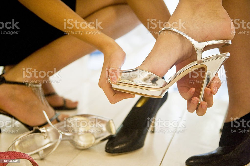 Trying on shoes royalty-free stock photo