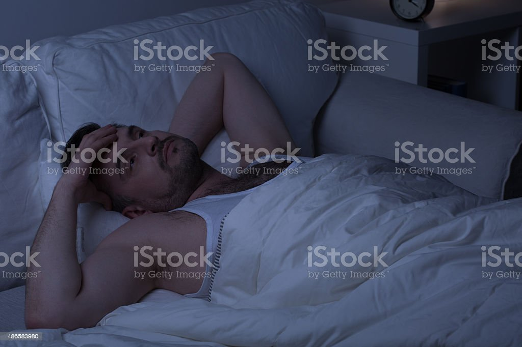 Trying to fall asleep stock photo
