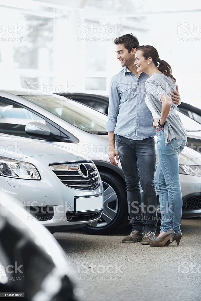 Trying to find the perfect set of wheels stock photo