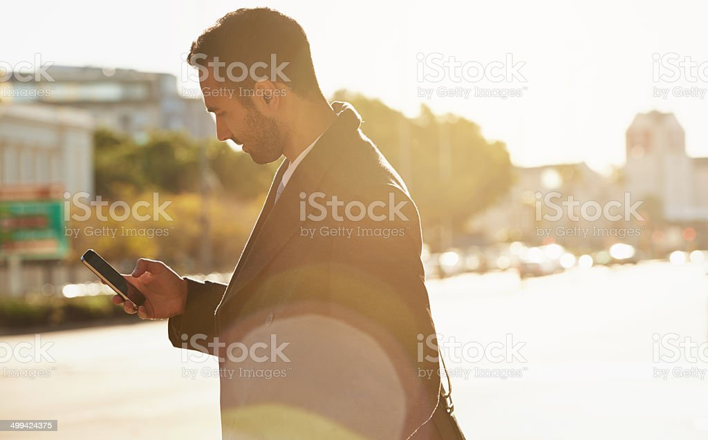 Trying to get a signal stock photo