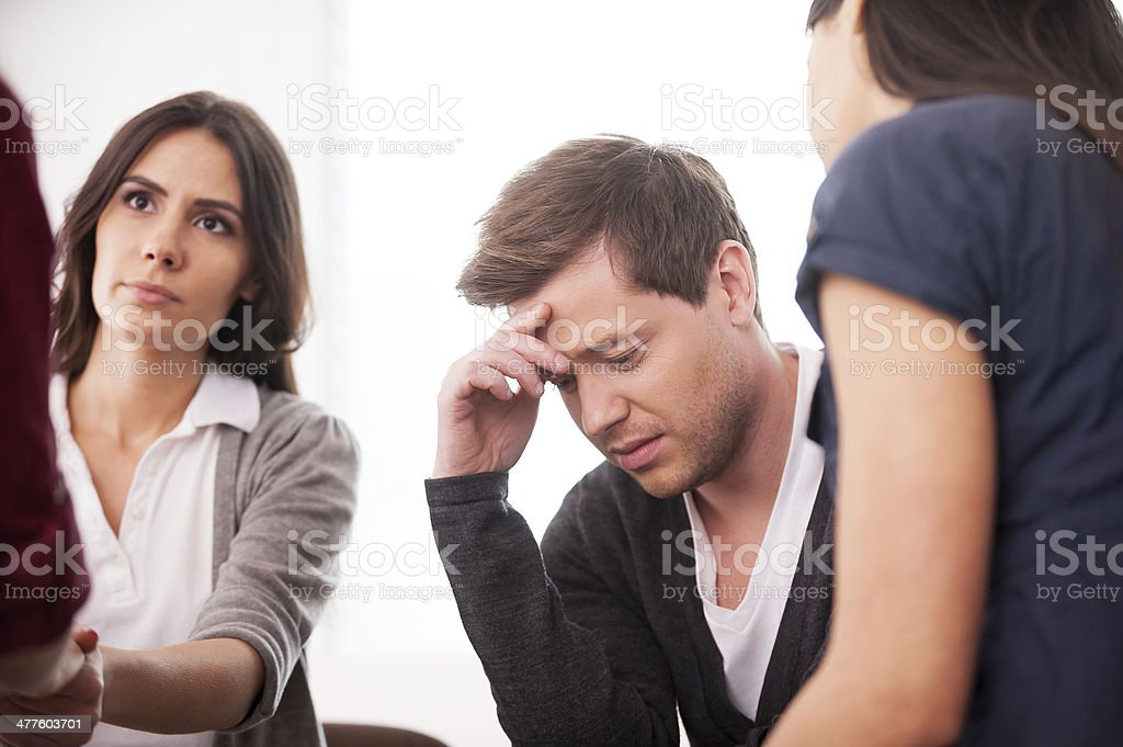 Trying to stay strong. stock photo