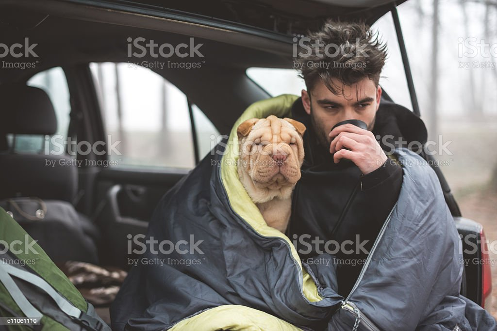Trying to stay warm stock photo