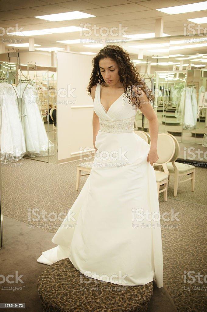 Trying Wedding Dress royalty-free stock photo