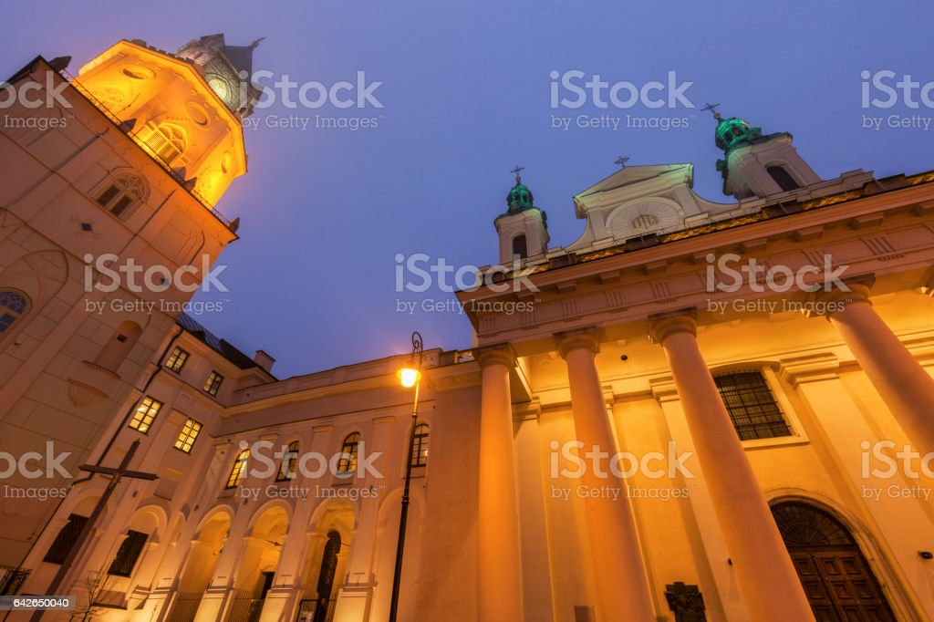 Trynitarska Tower and St. John the Baptist Cathedral in Lublin stock photo