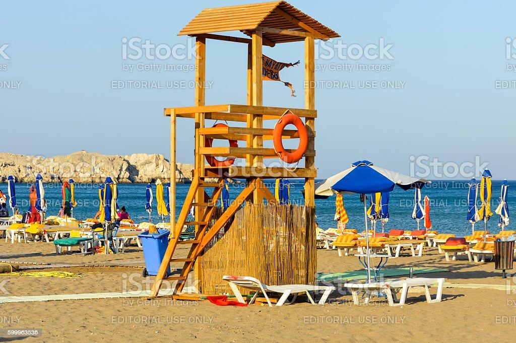 Tsambika beach in Rhodes, Greece stock photo