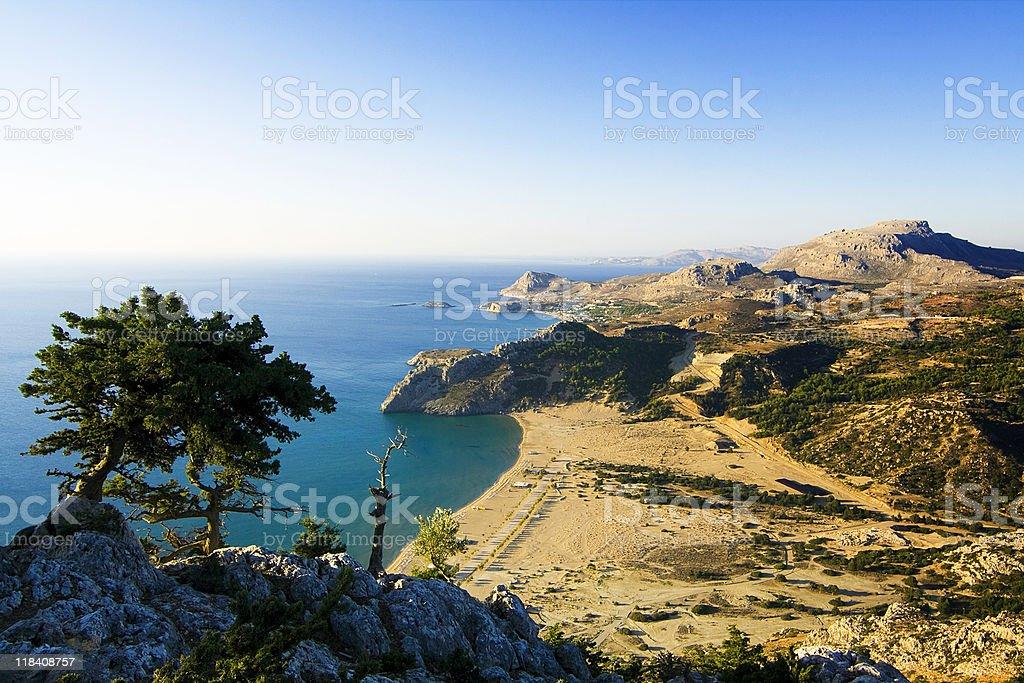 Tsampika beach (Rhodes) from high viewpoint stock photo