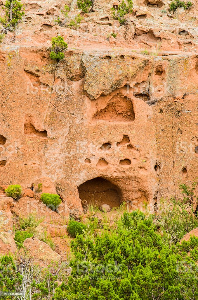 Tsankawi cave dwellings at Bandelier National Monument stock photo