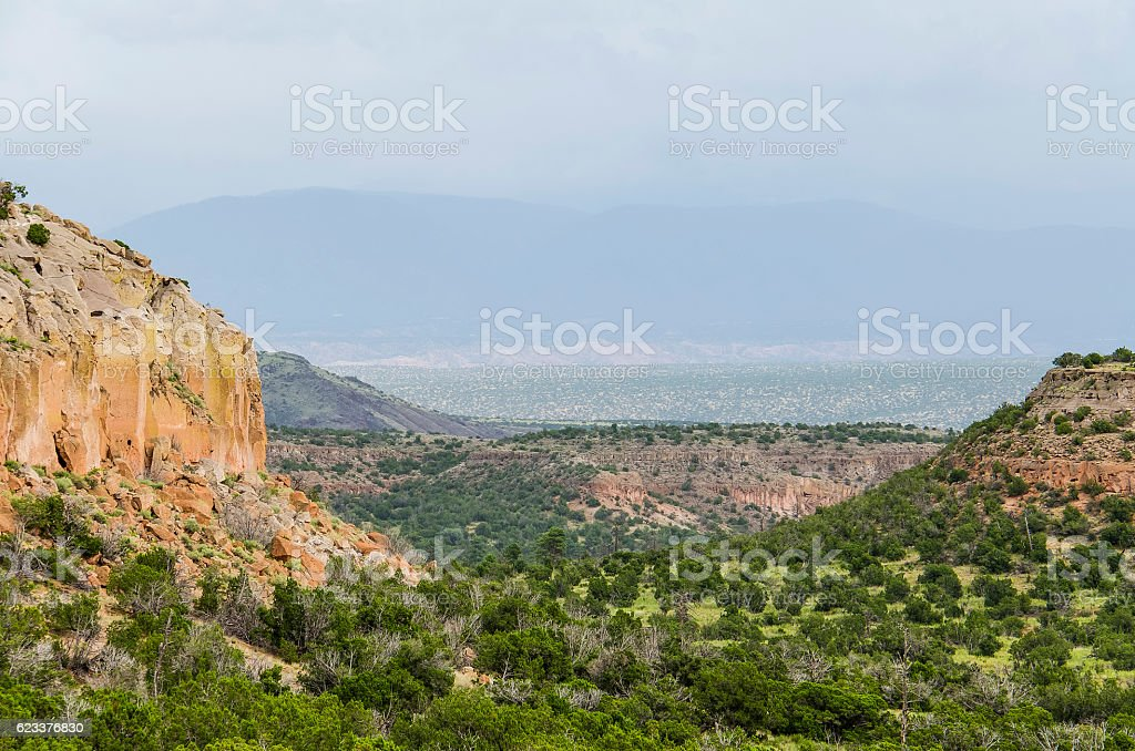 Tsankawi cave dwellings at Bandelier National Monument stock photo