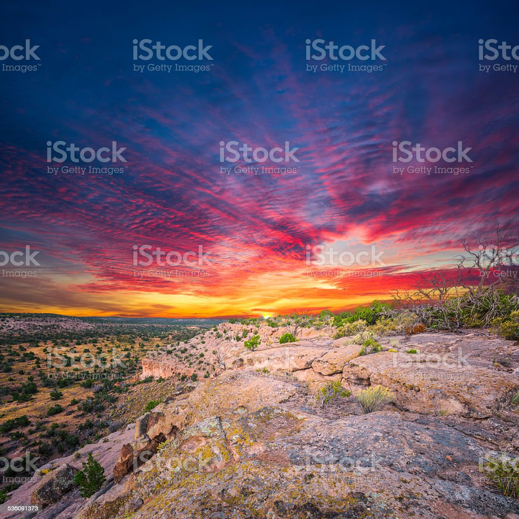 Tsankawi Sunrise stock photo