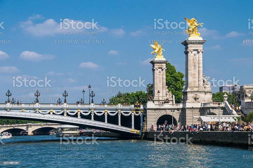 Tsar Alexander III Bridge stock photo