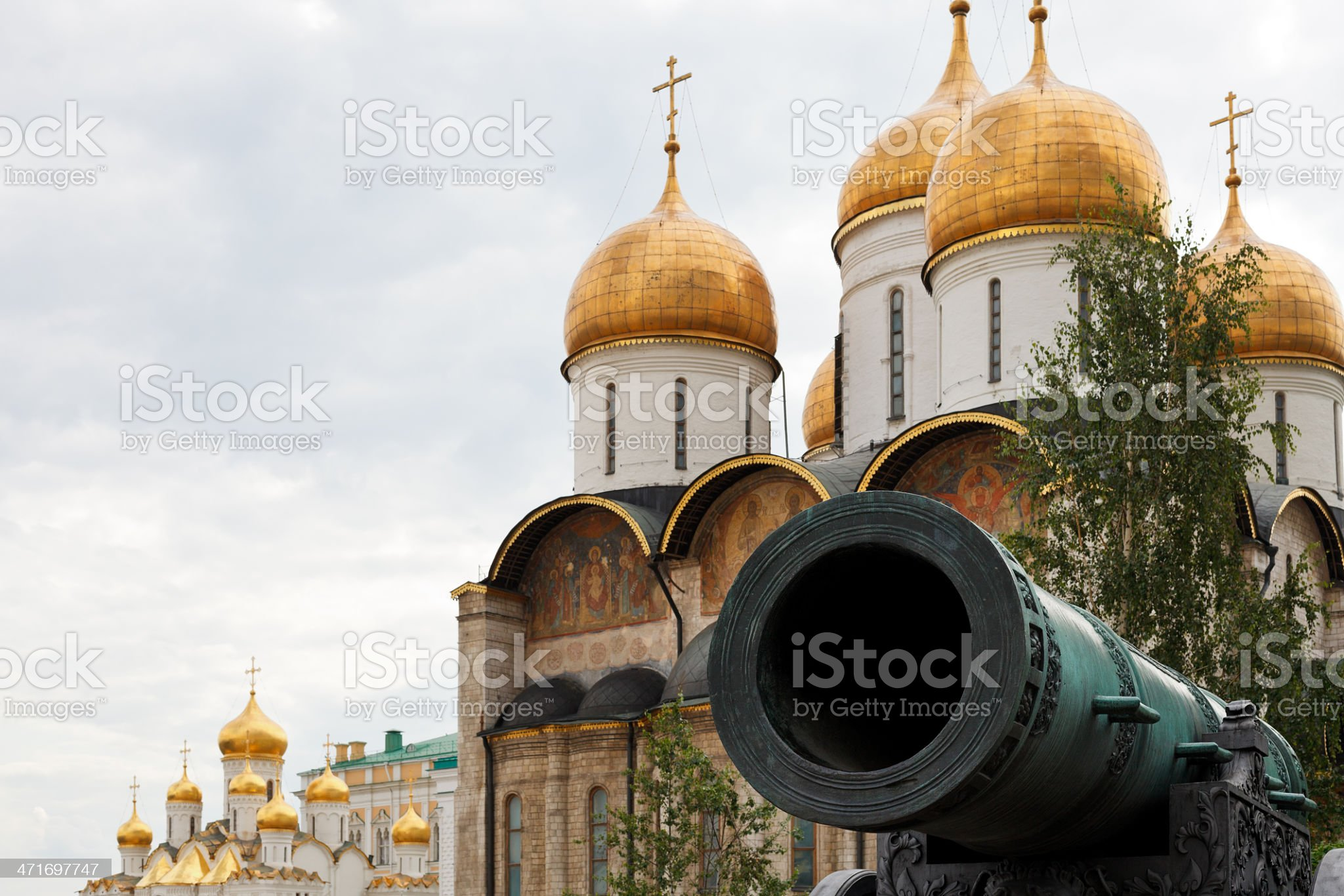 Tsar Cannon and Dormition Cathedral, Moscow royalty-free stock photo