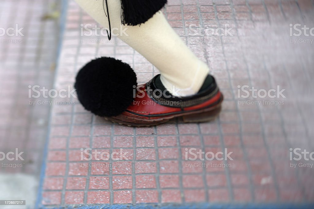Tsarouhi shoes and kaltsodetes garters sworn royalty-free stock photo
