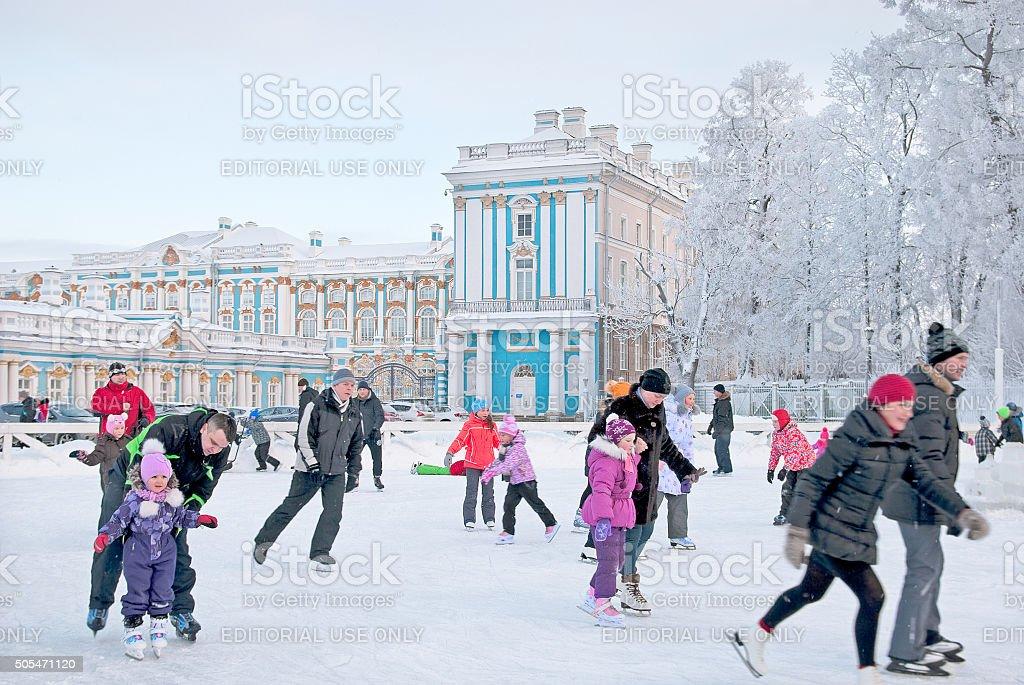Tsarskoye Selo. Saint – Petersburg. Russia. People on the rink stock photo