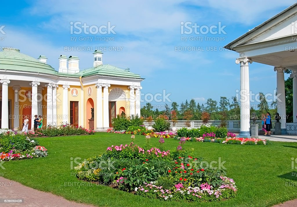 Tsarskoye Selo. Saint-Petersburg. Russia. People in The Cameron Gallery  Ensemble stock photo