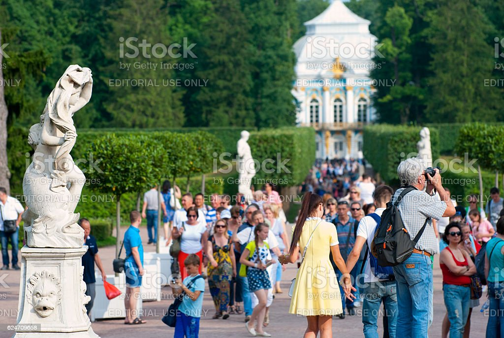 Tsarskoye Selo (Pushkin). Saint-Petersburg. Russia. People in The Catherine Park stock photo