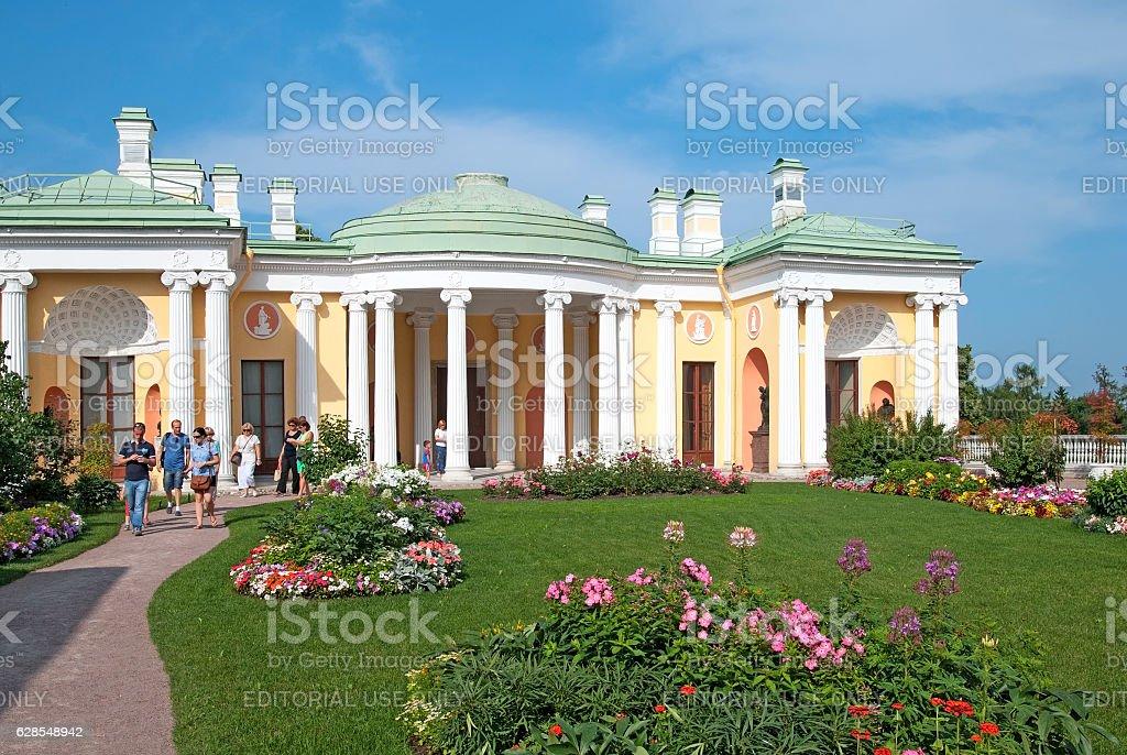 Tsarskoye Selo. Saint-Petersburg. Russia. People near The Cold Bath Pavilion stock photo