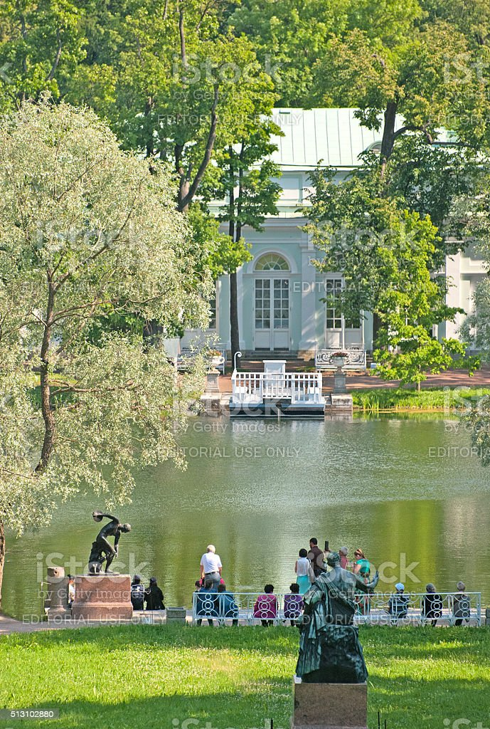 Tsarskoye Selo (Pushkin). Saint-Petersburg, Russia. People near The Great Pond stock photo