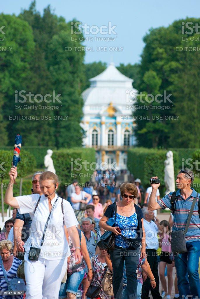 Tsarskoye Selo (Pushkin). Saint-Petersburg. Russia. Tourists in The Catherine Park stock photo