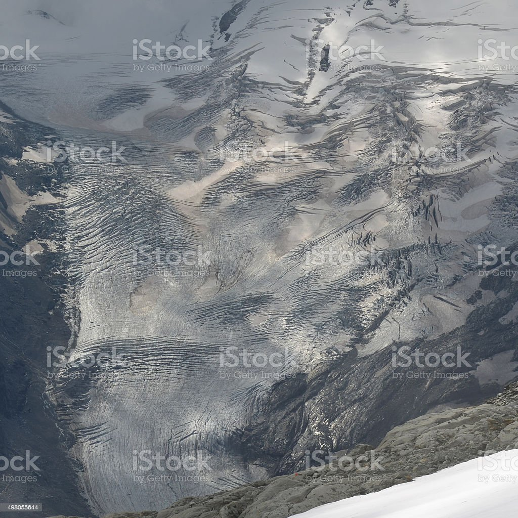 Tschierva Glacier seen from Piz Corvatsch stock photo