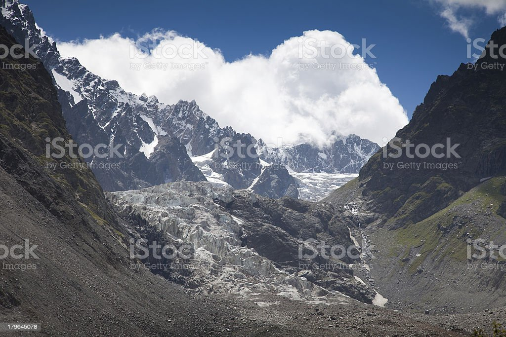 Tsey glacier, North Ossetia royalty-free stock photo