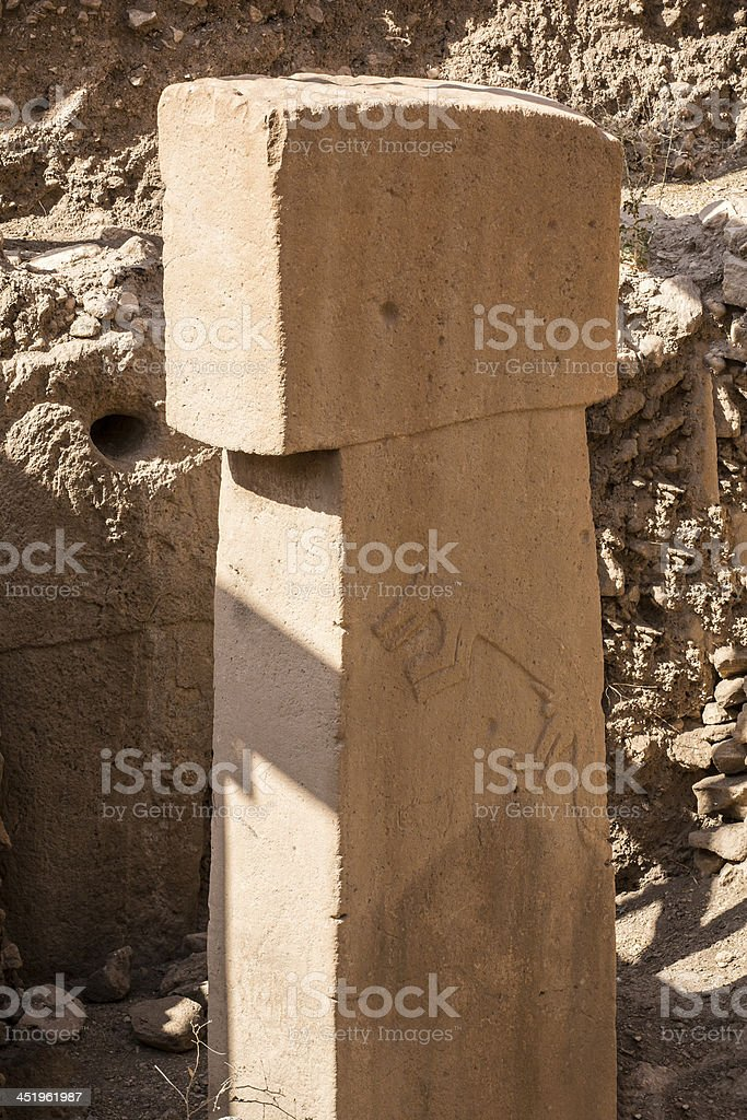 T-Shaped pillars at Gobekli Tepe Potbelly Hill in Sanliurfa, Turkey stock photo