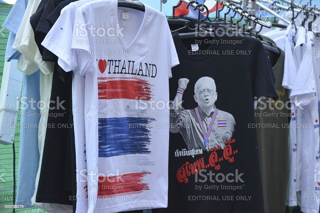 T-Shirts for sale, Anti-government demonstration in Bangkok stock photo