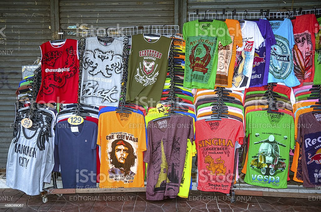 t-shirts for sale in Bangkok royalty-free stock photo