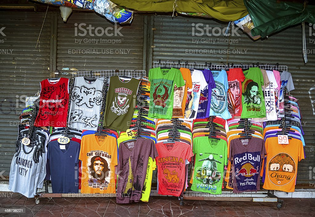 t-shirts for sale in Bangkok stock photo
