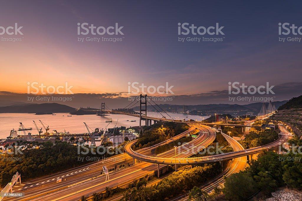 Tsing Ma Bridge Hongkong stock photo