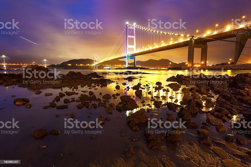 Tsing Ma bridge in Hong Kong at dusk royalty-free stock photo