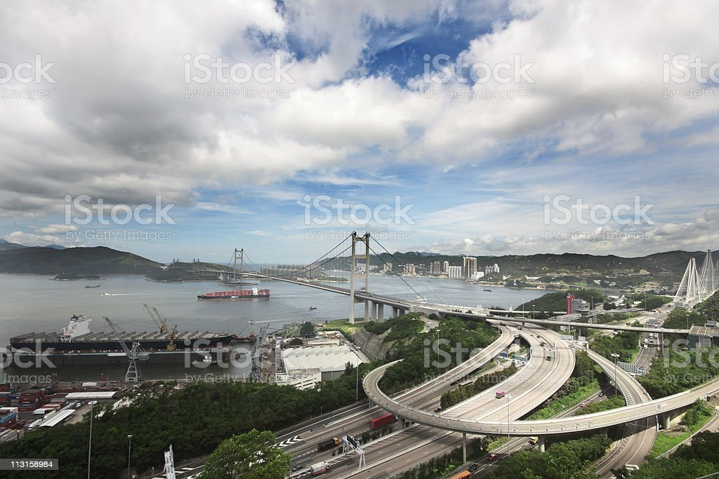 Tsing Ma Bridge in Hong Kong royalty-free stock photo