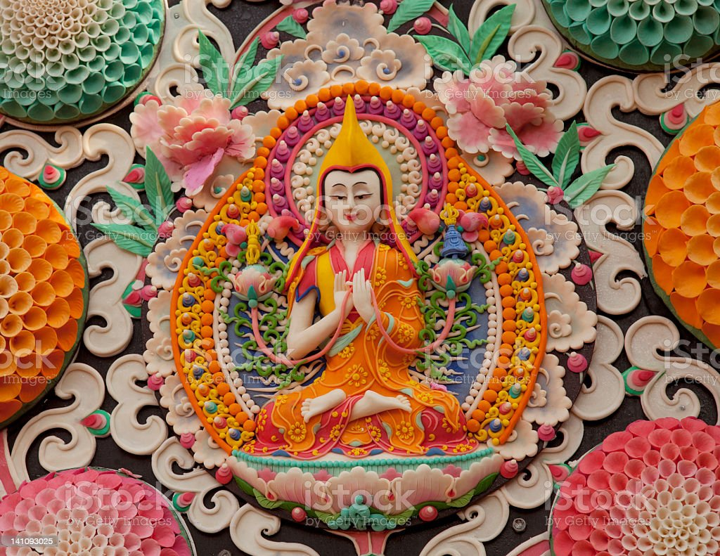 Tsongkhapa butter sculpture Tibetan yellow hat stock photo