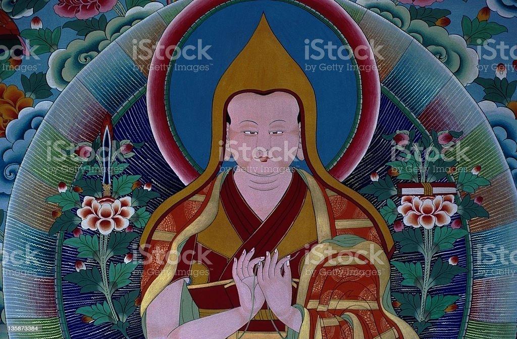 Tsongkhapa first Dalai Lama mural in Tibet stock photo