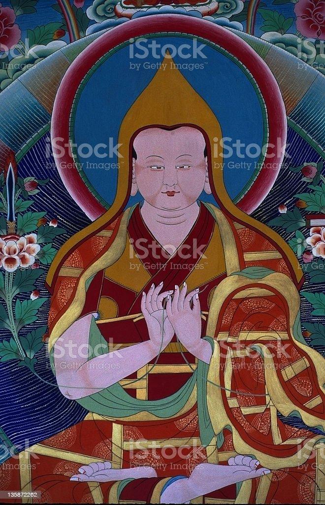 Tsongkhapa first Dalai Lama mural in Tibet, vertical stock photo
