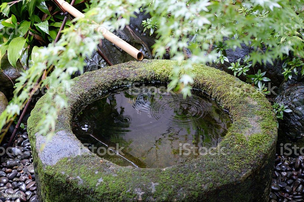 Tsukubai of circular stock photo