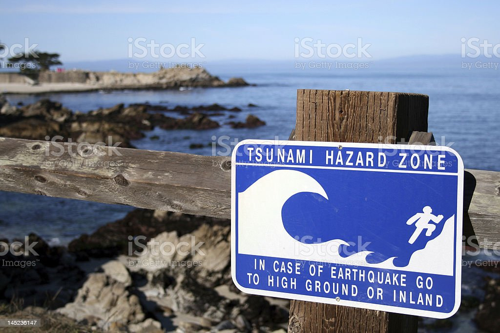 Tsunamai Hazard Zone stock photo