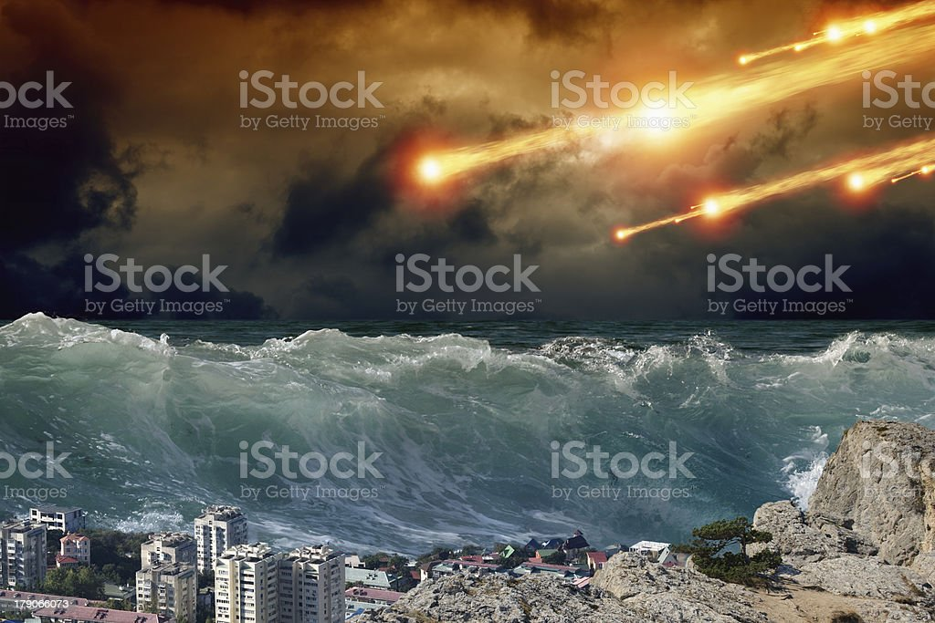 Tsunami, asteriod impact stock photo