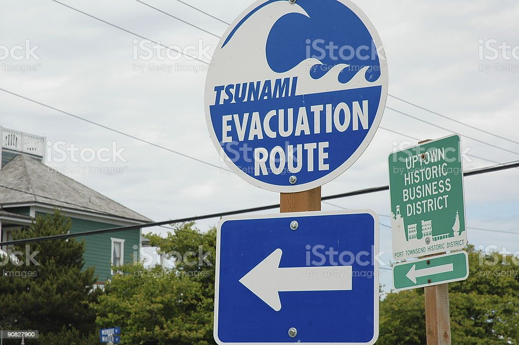 Tsunami Evacuation Route stock photo