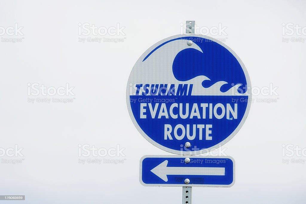 Tsunami Evacuation Route Sign stock photo